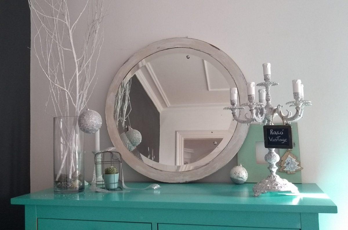 Espejo antiguo circular beige Vintage
