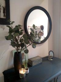 Espejo redondo restaurado en negro mate