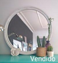 Espejo redondo blanco Rincon Vintage