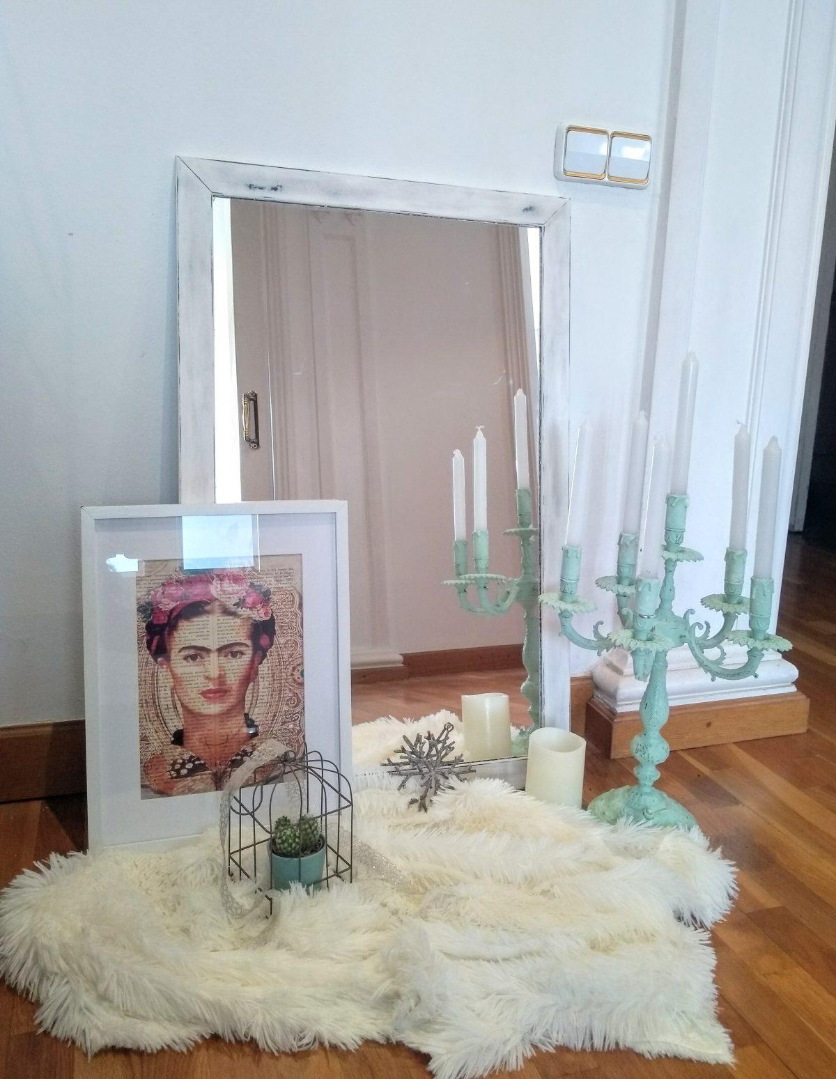 Espejo Blanco desgastado Rincón Vintage
