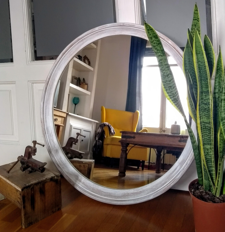 Espejo Blanco decapado circular Rincón Vintage