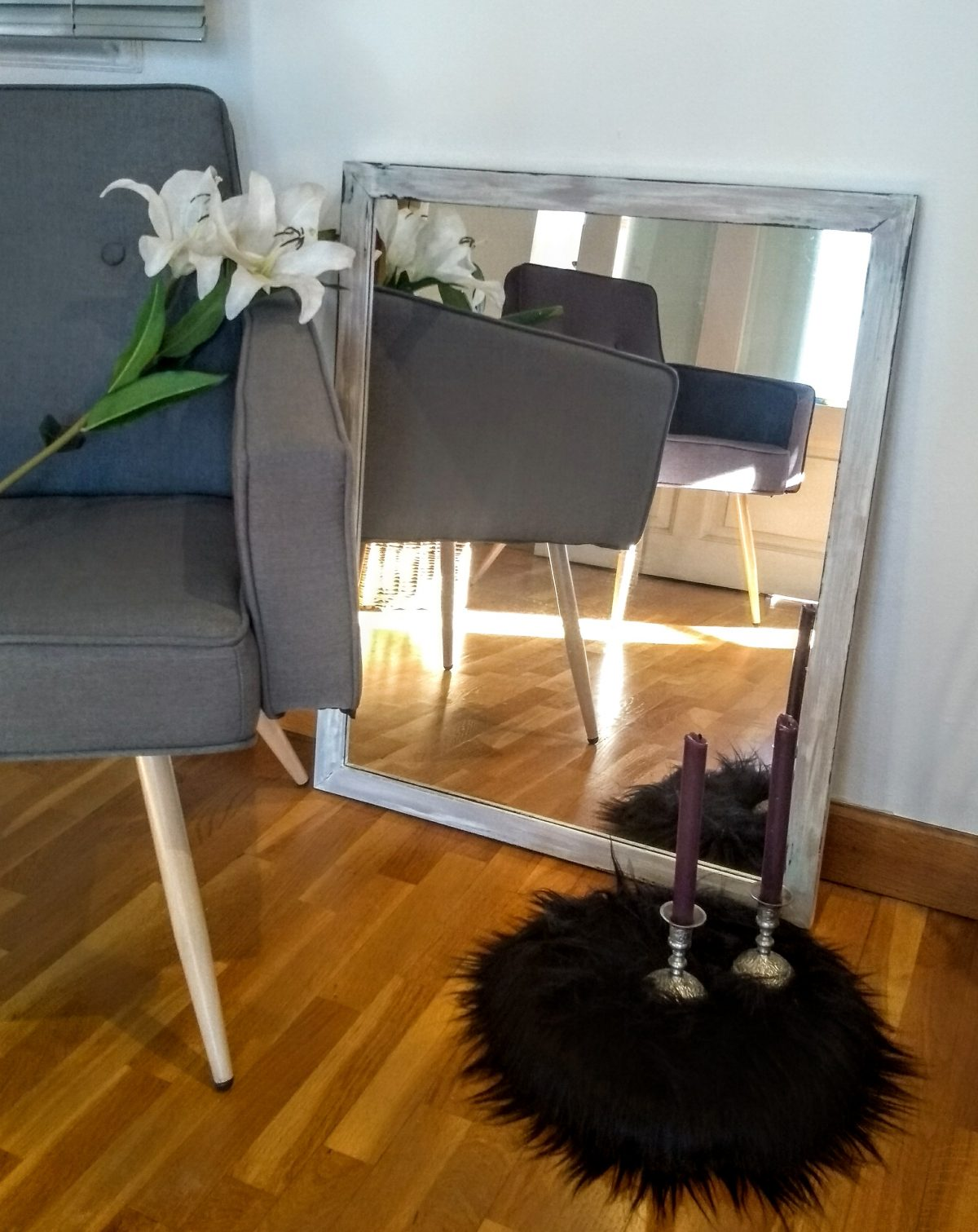 espejo beige decapado